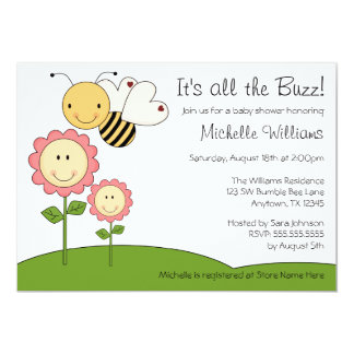 Happy Bumble Bee Pink Daisy Baby Shower 13 Cm X 18 Cm Invitation Card