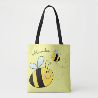 Happy Bumble Bees Flying Heart Personalised Tote Bag