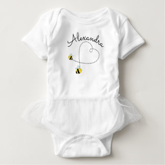 Happy Bumble Bees Flying Heart Personalized Baby Bodysuit