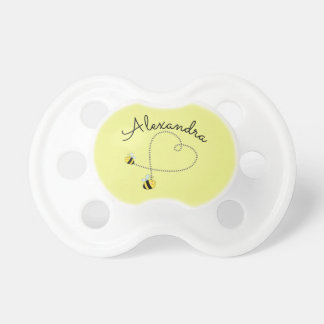 Happy Bumble Bees Flying Heart Personalized Baby Pacifier