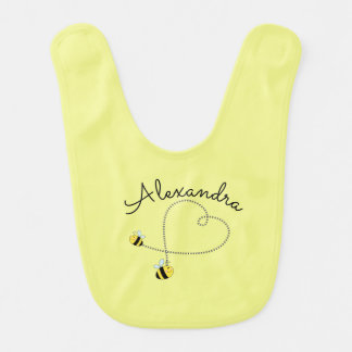 Happy Bumble Bees Flying Heart Personalized Bib