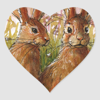 Happy Bunnies design by Schukina A072 Heart Sticker