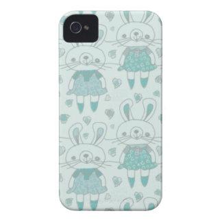 Happy Bunnies in Blue iPhone 4 Case-Mate Case