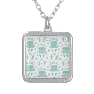 Happy Bunnies in Blue Silver Plated Necklace