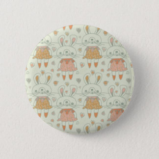 Happy Bunnies in Orange 6 Cm Round Badge
