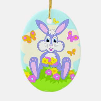 Happy Bunny Butterflies Cartoon Rabbit Ornament