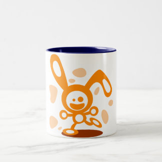 Happy Bunny(Orange) Two-Tone Coffee Mug