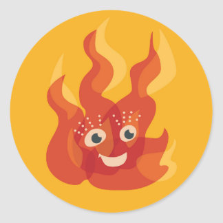 Happy Burning Fire Flame Character Classic Round Sticker