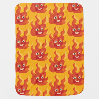 Happy Burning Fire Flame Character Pattern Baby Blanket