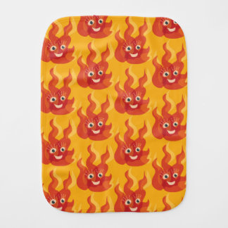Happy Burning Fire Flame Character Pattern Burp Cloth