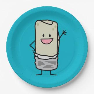 Happy Burrito Waiving Hello Paper Plate