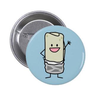 Happy Burrito Waving Hello 6 Cm Round Badge