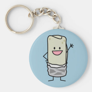 Happy Burrito Waving Hello Key Ring