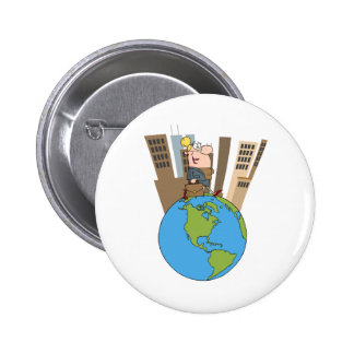 Happy Business Woman Walking Around Globe Buttons