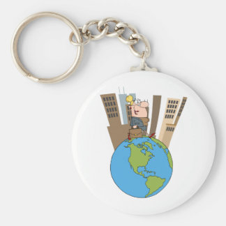 Happy Business Woman Walking Around Globe Basic Round Button Key Ring