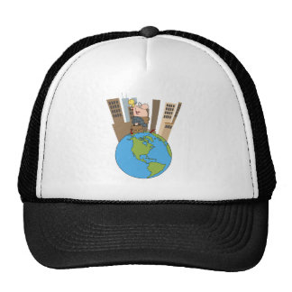 Happy Business Woman Walking Around Globe Trucker Hats