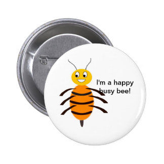Happy Busy Bee Button