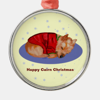 Happy Cairn Christmas Metal Ornament