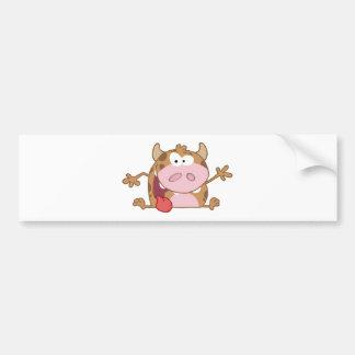 Happy Calf Cartoon Character Waving A Greeting Bumper Sticker