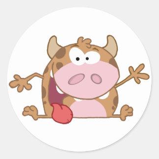 Happy Calf Cartoon Character Waving A Greeting Round Sticker