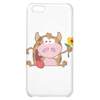 Happy Calf Cartoon Character With Flower Cover For iPhone 5C