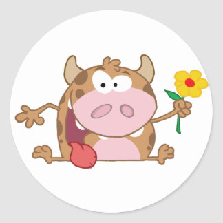 Happy Calf Cartoon Character With Flower Sticker
