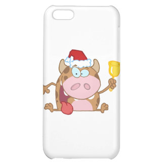 Happy Calf Character Ringing A Bell Christmas Cover For iPhone 5C