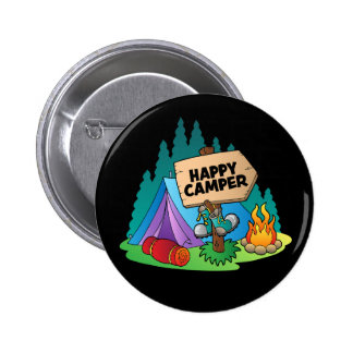 Happy Camper, 2¼ Inch Round Button