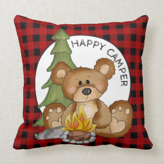 Happy Camper Bear fun throw pillow