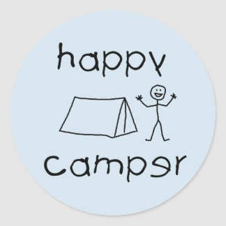 Happy Camper (blk) Classic Round Sticker