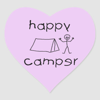 Happy Camper (blk) Heart Sticker