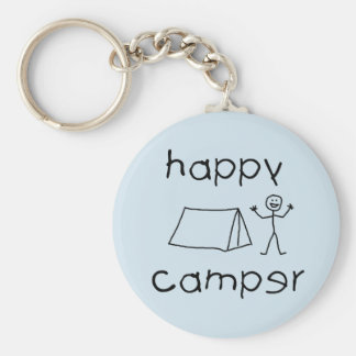 Happy Camper (blk) Key Ring