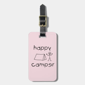 Happy Camper (blk) Luggage Tag