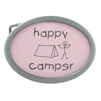 Happy Camper (blk) Oval Belt Buckle