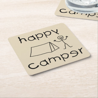 Happy Camper (blk) Square Paper Coaster