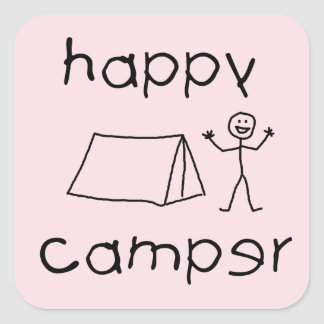 Happy Camper (blk) Square Sticker