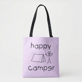 Happy Camper (blk) Tote Bag