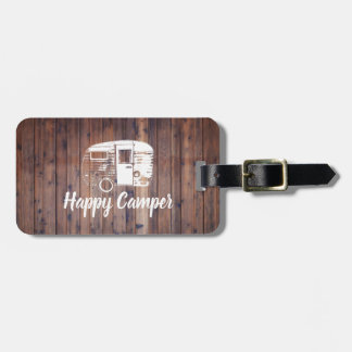 Happy Camper Camping Trailer Rustic Wood Luggage Tag