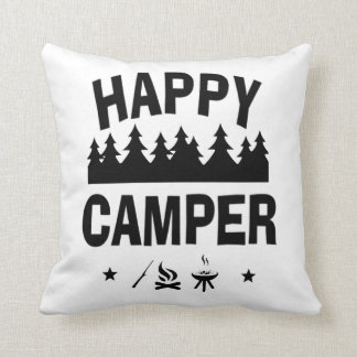 Happy Camper Fun Camping Quote Cushion