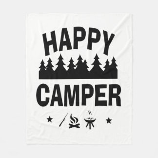 Happy Camper Fun Camping Quote Fleece Blanket