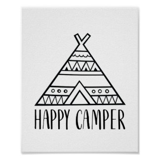 Happy Camper Funny Typography Quote Poster