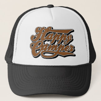 Happy Camper in Brown Trucker Hat
