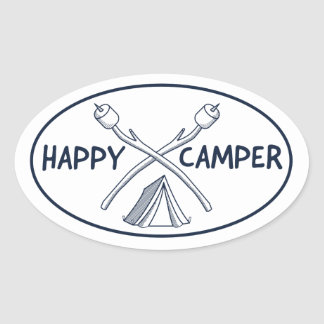 Happy Camper - Monochrome Oval Sticker