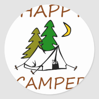 Happy Camper Outdoors Classic Round Sticker