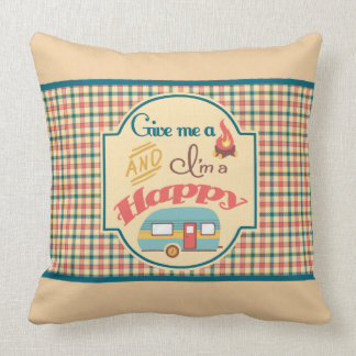 Happy Camper Personalized Pillow (Tan & Teal)