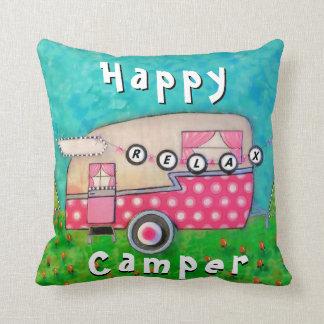 Happy Camper Pillow, Camper Art Cushion