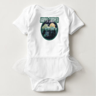 happy camper round camping distressed design baby bodysuit