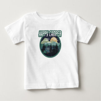 happy camper round camping distressed design baby T-Shirt