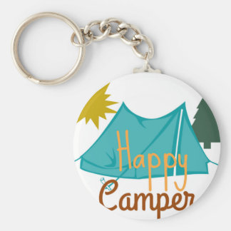 Happy Camper Tent Outdoors Key Ring