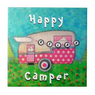 Happy Camper Tile Pink Retro Trailer